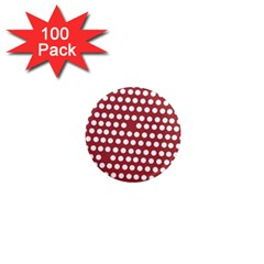 Pink White Polka Dots 1  Mini Magnets (100 Pack)  by Mariart