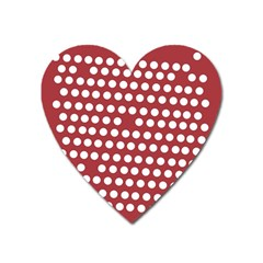 Pink White Polka Dots Heart Magnet by Mariart