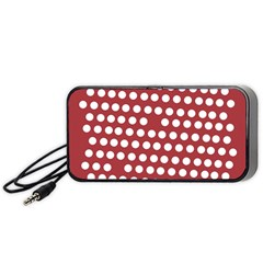 Pink White Polka Dots Portable Speaker (black) by Mariart