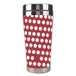 Pink White Polka Dots Stainless Steel Travel Tumblers Left