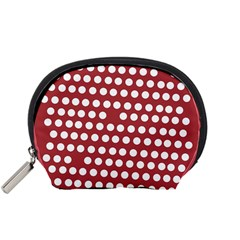 Pink White Polka Dots Accessory Pouches (small)  by Mariart