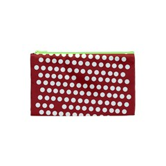 Pink White Polka Dots Cosmetic Bag (xs) by Mariart