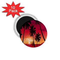 Nature Palm Trees Beach Sea Boat Sun Font Sunset Fabric 1 75  Magnets (10 Pack)  by Mariart