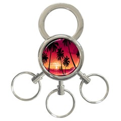 Nature Palm Trees Beach Sea Boat Sun Font Sunset Fabric 3 Ring Key Chains by Mariart