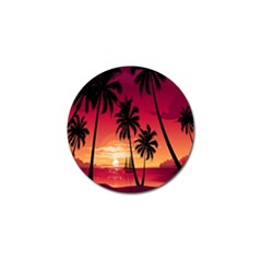 Nature Palm Trees Beach Sea Boat Sun Font Sunset Fabric Golf Ball Marker by Mariart
