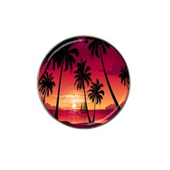 Nature Palm Trees Beach Sea Boat Sun Font Sunset Fabric Hat Clip Ball Marker (4 Pack) by Mariart