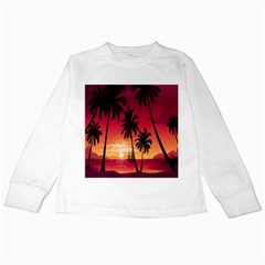 Nature Palm Trees Beach Sea Boat Sun Font Sunset Fabric Kids Long Sleeve T Shirts by Mariart