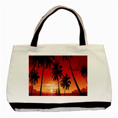Nature Palm Trees Beach Sea Boat Sun Font Sunset Fabric Basic Tote Bag by Mariart