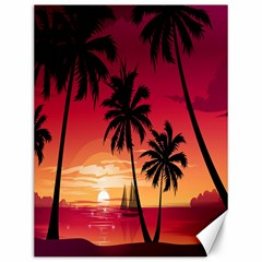 Nature Palm Trees Beach Sea Boat Sun Font Sunset Fabric Canvas 12  X 16   by Mariart