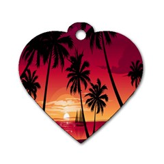 Nature Palm Trees Beach Sea Boat Sun Font Sunset Fabric Dog Tag Heart (one Side) by Mariart