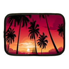 Nature Palm Trees Beach Sea Boat Sun Font Sunset Fabric Netbook Case (medium)  by Mariart