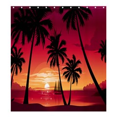 Nature Palm Trees Beach Sea Boat Sun Font Sunset Fabric Shower Curtain 66  X 72  (large)  by Mariart