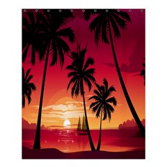 Nature Palm Trees Beach Sea Boat Sun Font Sunset Fabric Shower Curtain 60  X 72  (medium)