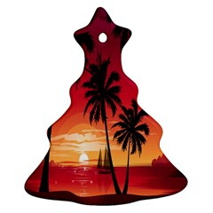 Nature Palm Trees Beach Sea Boat Sun Font Sunset Fabric Ornament (christmas Tree)  by Mariart