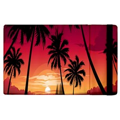 Nature Palm Trees Beach Sea Boat Sun Font Sunset Fabric Apple Ipad 3/4 Flip Case by Mariart