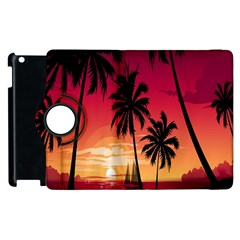 Nature Palm Trees Beach Sea Boat Sun Font Sunset Fabric Apple Ipad 2 Flip 360 Case by Mariart