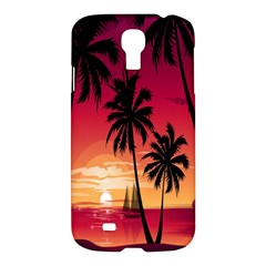 Nature Palm Trees Beach Sea Boat Sun Font Sunset Fabric Samsung Galaxy S4 I9500/i9505 Hardshell Case by Mariart