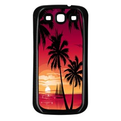 Nature Palm Trees Beach Sea Boat Sun Font Sunset Fabric Samsung Galaxy S3 Back Case (black) by Mariart