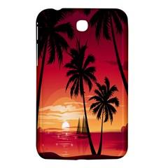 Nature Palm Trees Beach Sea Boat Sun Font Sunset Fabric Samsung Galaxy Tab 3 (7 ) P3200 Hardshell Case  by Mariart