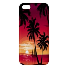 Nature Palm Trees Beach Sea Boat Sun Font Sunset Fabric Iphone 5s/ Se Premium Hardshell Case by Mariart