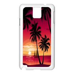 Nature Palm Trees Beach Sea Boat Sun Font Sunset Fabric Samsung Galaxy Note 3 N9005 Case (white) by Mariart