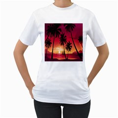 Nature Palm Trees Beach Sea Boat Sun Font Sunset Fabric Women s T Shirt (white)  by Mariart