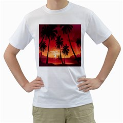 Nature Palm Trees Beach Sea Boat Sun Font Sunset Fabric Men s T Shirt (white)  by Mariart