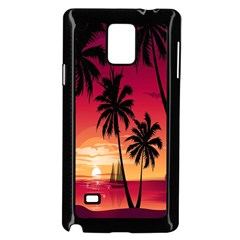 Nature Palm Trees Beach Sea Boat Sun Font Sunset Fabric Samsung Galaxy Note 4 Case (black) by Mariart