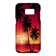Nature Palm Trees Beach Sea Boat Sun Font Sunset Fabric Samsung Galaxy S7 Hardshell Case  by Mariart