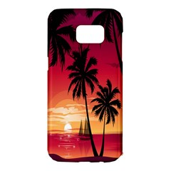 Nature Palm Trees Beach Sea Boat Sun Font Sunset Fabric Samsung Galaxy S7 Edge Hardshell Case by Mariart