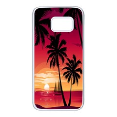 Nature Palm Trees Beach Sea Boat Sun Font Sunset Fabric Samsung Galaxy S7 White Seamless Case by Mariart