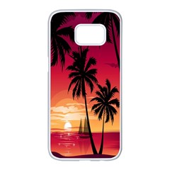 Nature Palm Trees Beach Sea Boat Sun Font Sunset Fabric Samsung Galaxy S7 Edge White Seamless Case by Mariart
