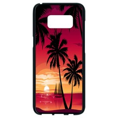 Nature Palm Trees Beach Sea Boat Sun Font Sunset Fabric Samsung Galaxy S8 Black Seamless Case