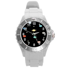 Planets Space Round Plastic Sport Watch (l) by Mariart