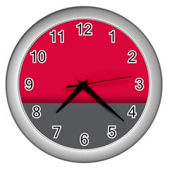 Red Gray Flag Line Horizontal Wall Clocks (silver)  by Mariart