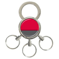 Red Gray Flag Line Horizontal 3 Ring Key Chains by Mariart