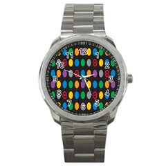 Polka Dots Rainbow Circle Sport Metal Watch by Mariart