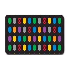 Polka Dots Rainbow Circle Small Doormat  by Mariart
