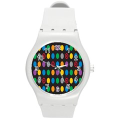 Polka Dots Rainbow Circle Round Plastic Sport Watch (m) by Mariart