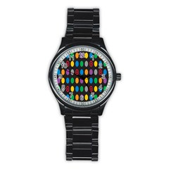 Polka Dots Rainbow Circle Stainless Steel Round Watch by Mariart