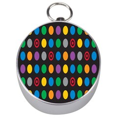 Polka Dots Rainbow Circle Silver Compasses by Mariart