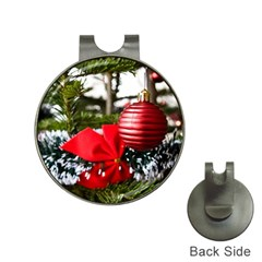 Red Ornament with Red Bow on Christmas Tree Golf Ball Marker Hat Clip by CustomYourOwn
