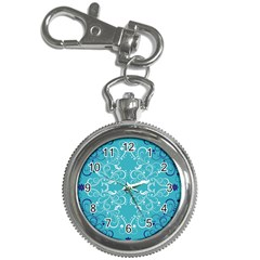 Repeatable Flower Leaf Blue Key Chain Watches by Mariart