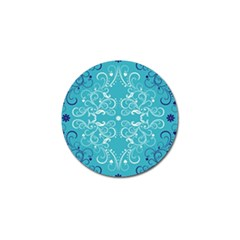 Repeatable Flower Leaf Blue Golf Ball Marker by Mariart