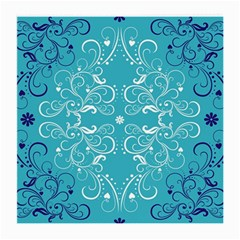 Repeatable Flower Leaf Blue Medium Glasses Cloth by Mariart