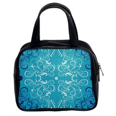 Repeatable Flower Leaf Blue Classic Handbags (2 Sides) by Mariart