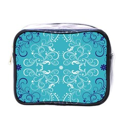 Repeatable Flower Leaf Blue Mini Toiletries Bags by Mariart
