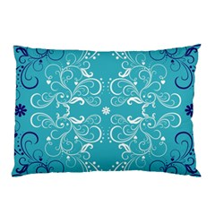 Repeatable Flower Leaf Blue Pillow Case (two Sides) by Mariart