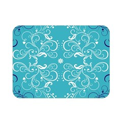 Repeatable Flower Leaf Blue Double Sided Flano Blanket (mini)  by Mariart