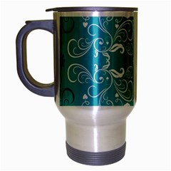 Repeatable Flower Leaf Blue Travel Mug (silver Gray) by Mariart
